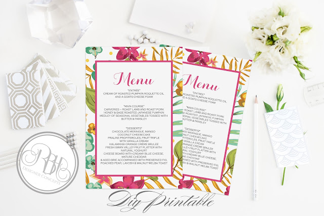 tropical watercolour menu pink hibiscus-island wedding-by rbh designer concepts