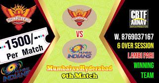 9th Match MI vs SRH IPL 2021 Today Match Prediction 100% Sure Winner