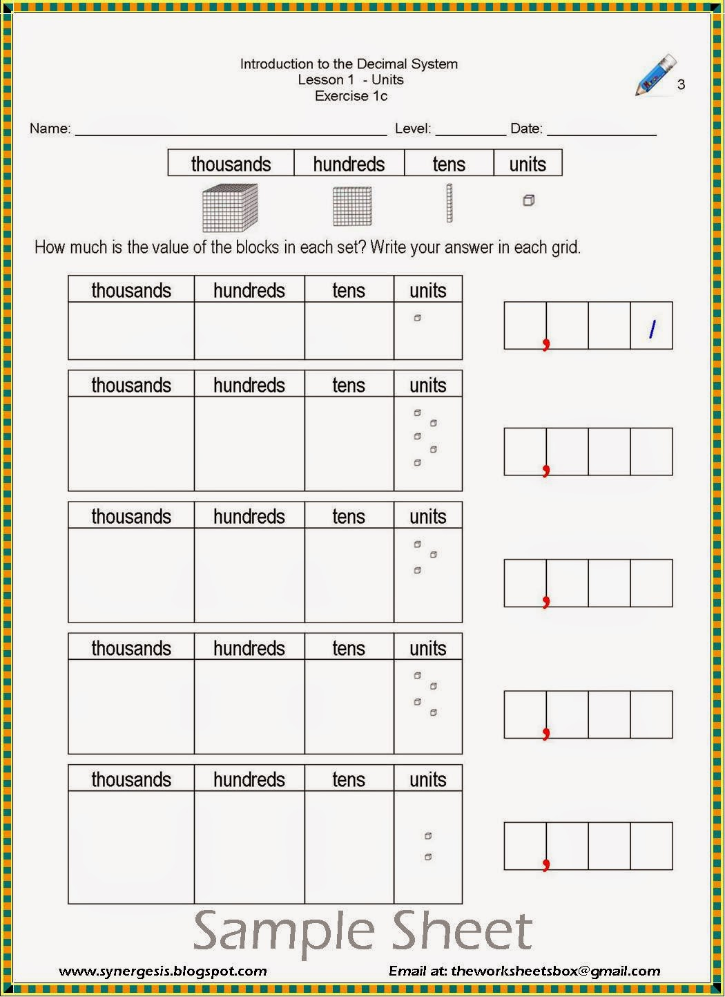 The Worksheets Box Decimal System