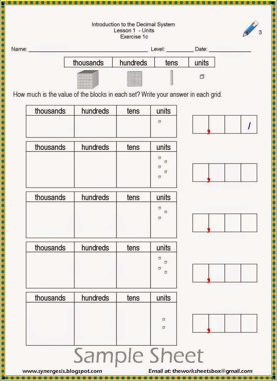 The Worksheets Box Decimal System