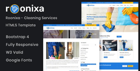 Roonixa - Cleaning Services Website Template
