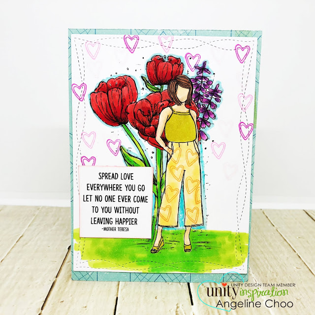 ScrappyScrappy: Red & Gold with Unity Stamp - Tulia Girl #scrappyscrappy #unitystampco #copicmarker #quicktipvideo #youtube #tulips #plannergirl #angiegirl #tuliagirl