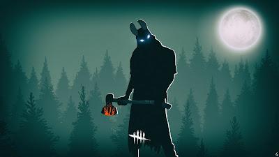 Hombre con hacha de fuego y cuernos en el bosque bajo la luna