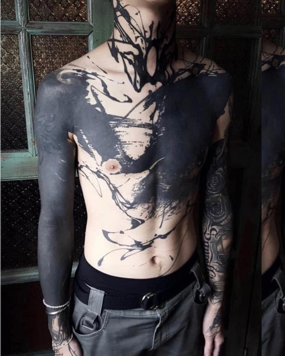black color Chest Tattoos For Men