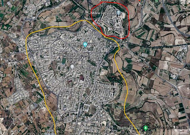 Mapa de Mdina e Rabat, Malta