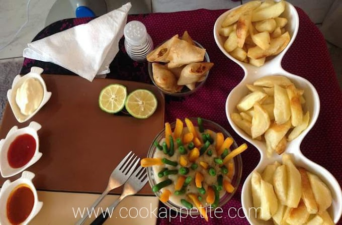 French Fries Recipe, Carrots And Green Beans And Samosa