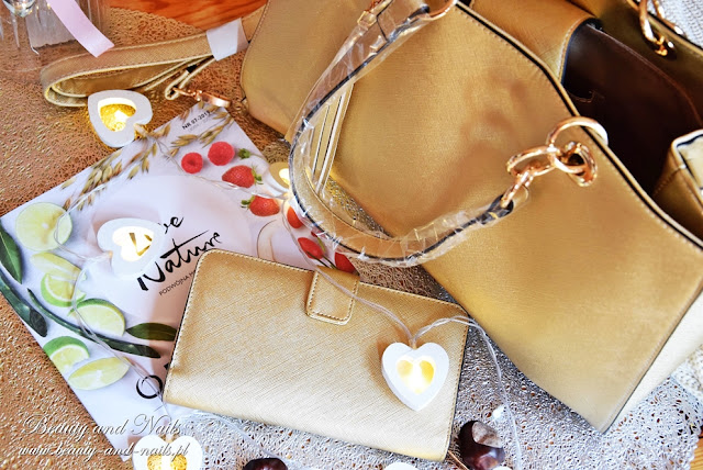 Złota torebka i portfel - Oriflame.