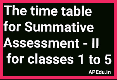 The time table for Summative Assessment - 2 for classes 1 to 5