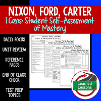 American History I Cans, Student Self-Assessment of Mastery, Nixon, Ford, Carter