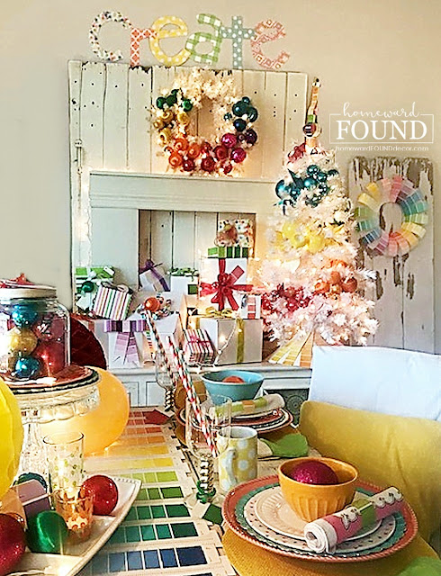 Christmas,Christmas Decor,Christmas Decor Themes,holiday,tablescapes,DIY,diy decorating,color,color palettes,colorful home,entertaining,party,ornaments,paper crafts,winter,re-purposing,paint chips,paint chip decor,paint chip crafts,colorful tablescape,colorful Christmas,Christmas table,Christmas tablescape,napkin rings,buffet table,place settings, wine glass charms,roygbiv, rainbow aesthetic.