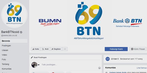 halaman facebook bank btn untuk tanya sisa angsuran kpr