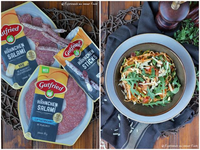 One Pot Pasta mit Hähnchensalami, Rucola und Pinienkernen | Rezept | Nudeln | Kochen