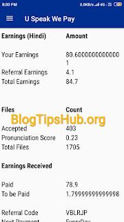 U Speak We Pay App payment proof hindi language