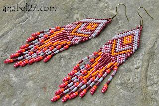 купить длинные серьги из бисера с бахромой