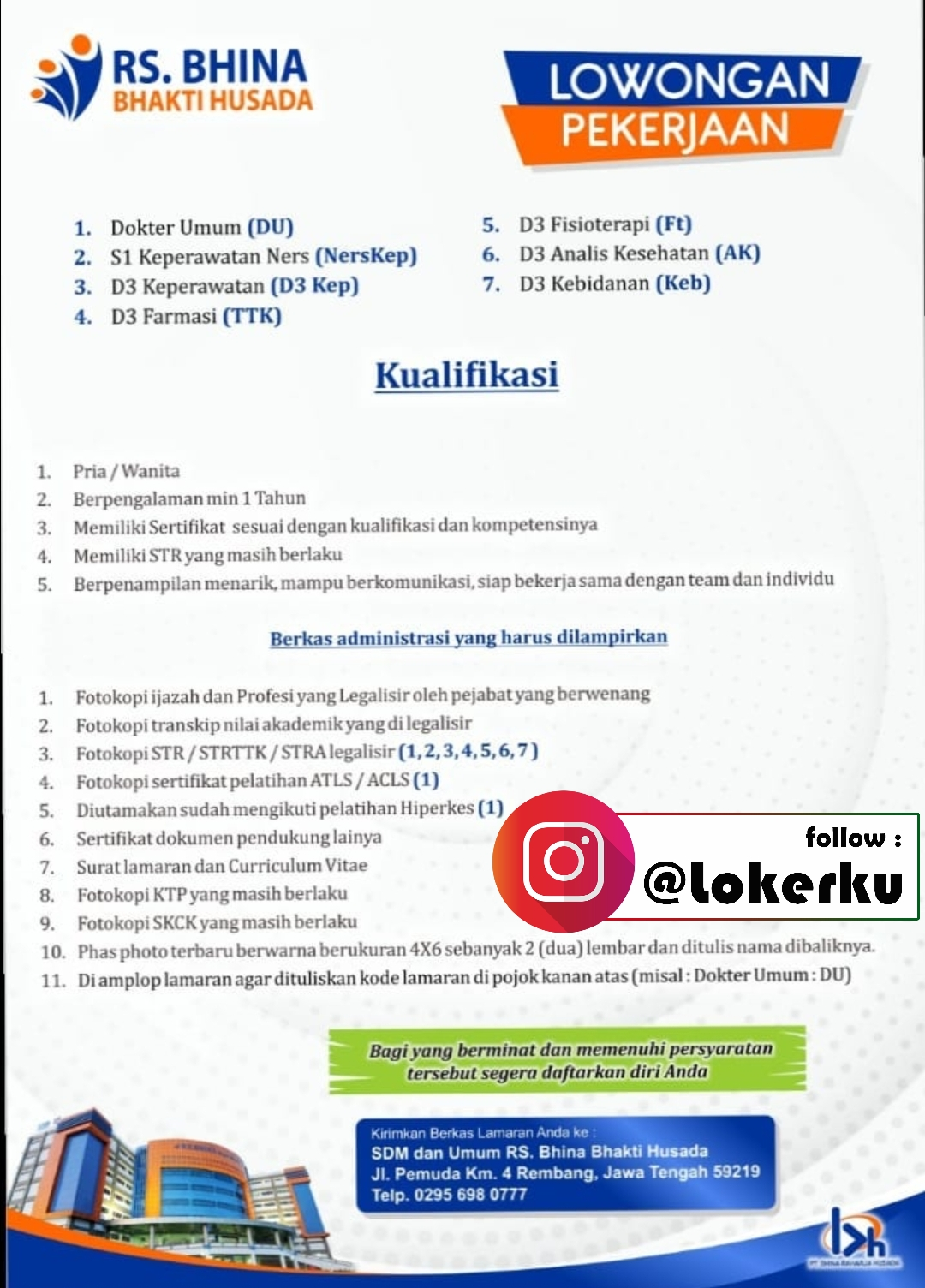 Lowongan Kerja Rembang Sebagai Dokter Umum, Keperawatan, Farmasi, Fisioterapi, Analis Kesehatan, Kebidanan di Rumah Sakit Bhina Bhakti Husada Rembang