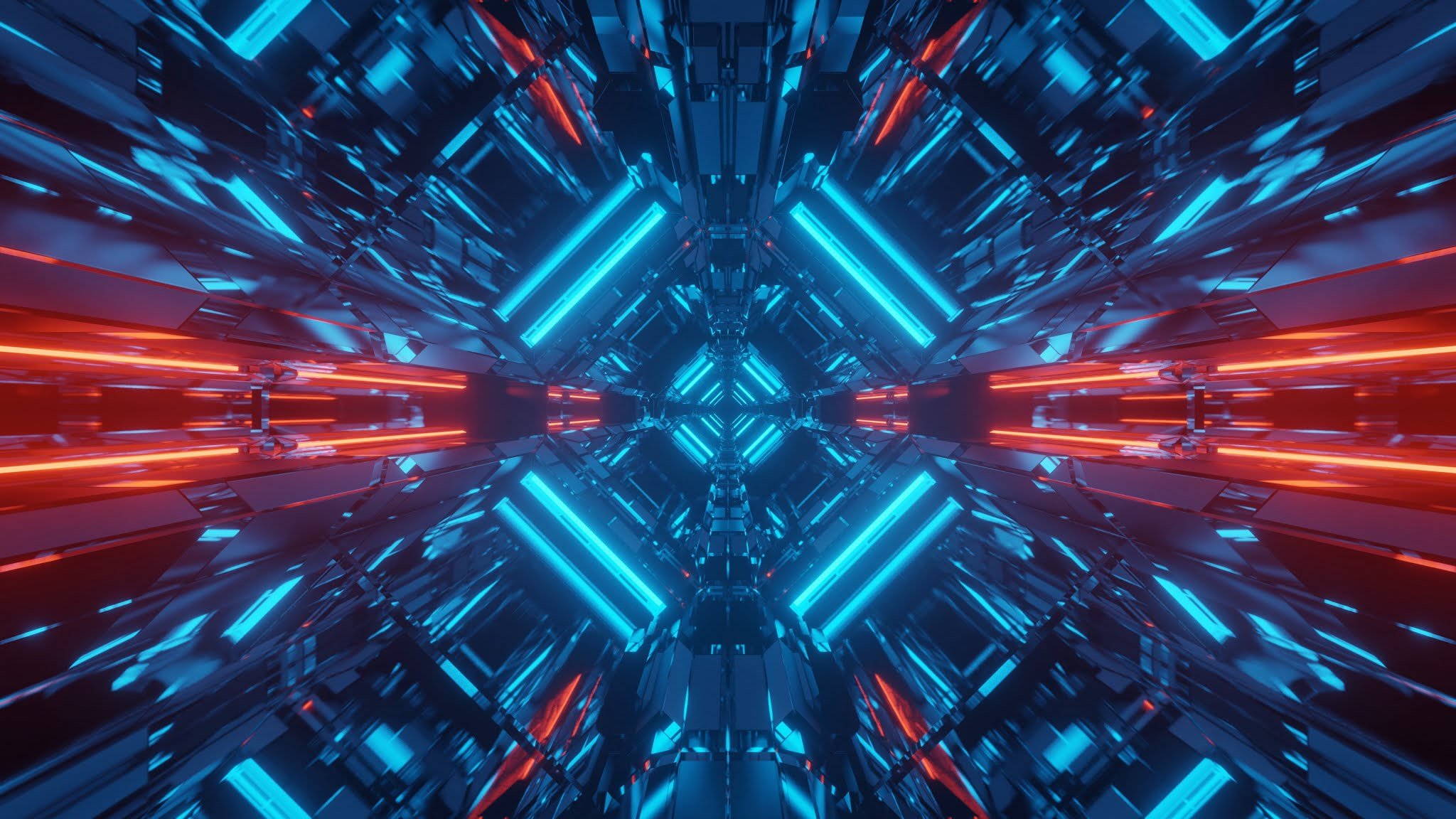 Abstract science fiction futuristic background with red and blue neon lights