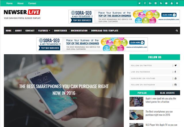 Newser mobile friendly blogger template