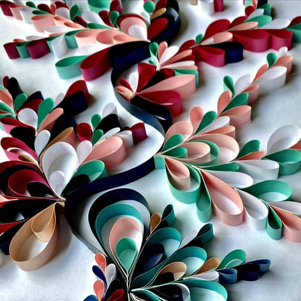 on edge colorful looped paper design