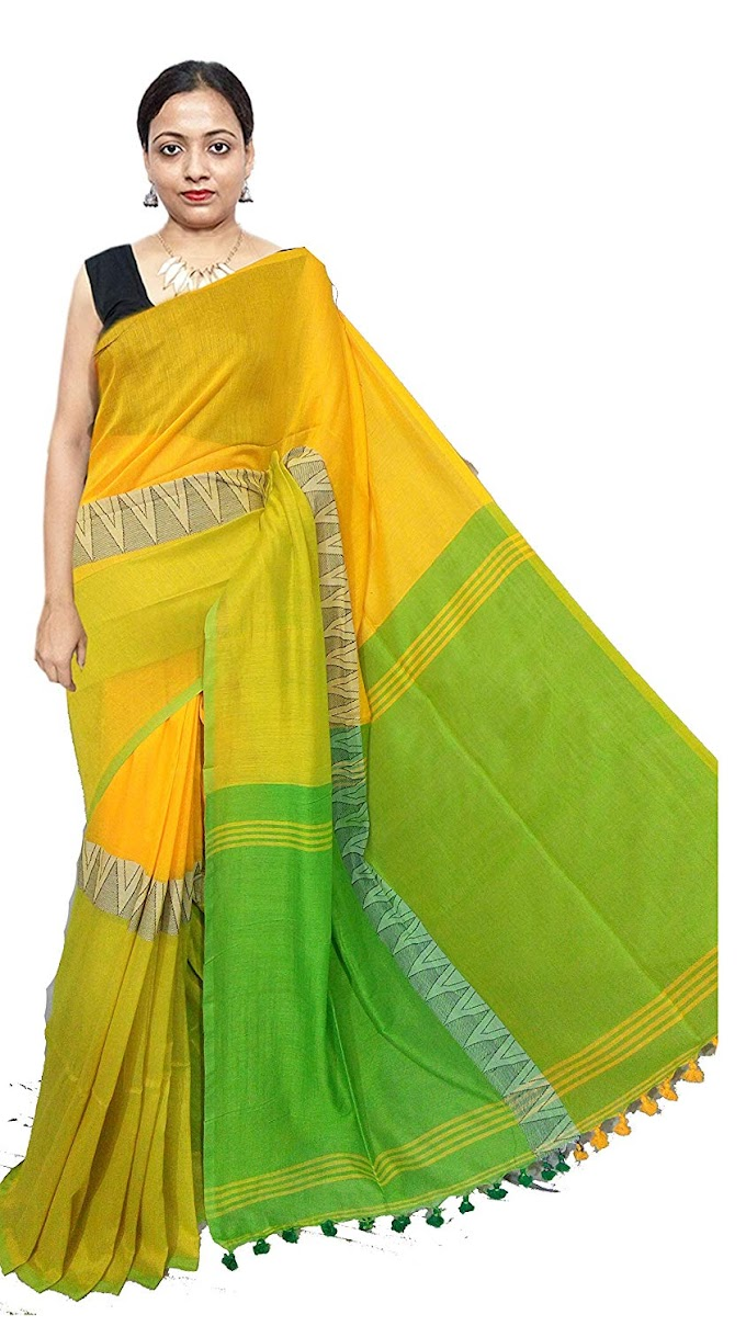 Red saree women's Madhyamani Khadi Handloom Saree | RS256 | yellow green | Free Size