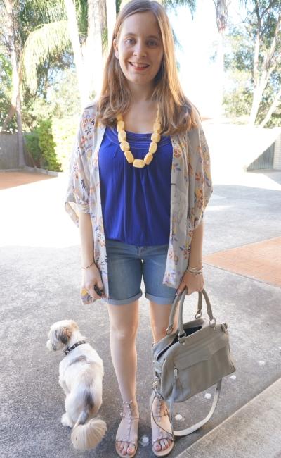 cobalt blouson tee, Bermuda denim shorts floral somedays lovin' kimono | AwayFromBlue