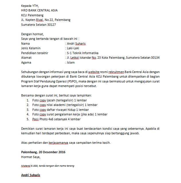 Contoh Surat Lamaran Rsud Prov Sumsel