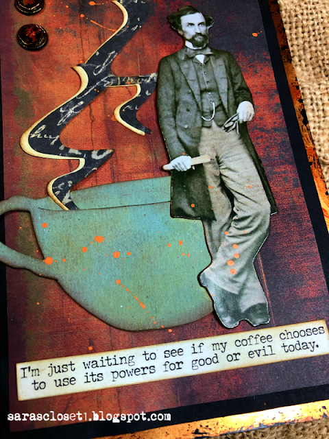 Sara Emily Barker https://sarascloset1.blogspot.com/ Fall Coffee Card Tim Holtz Tea Time Steampunk Parts Abandoned Paper Stash 2