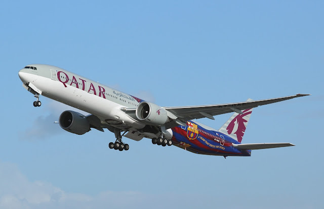 Qatar Airways Boeing 777-300 With Barcelona FC Painting