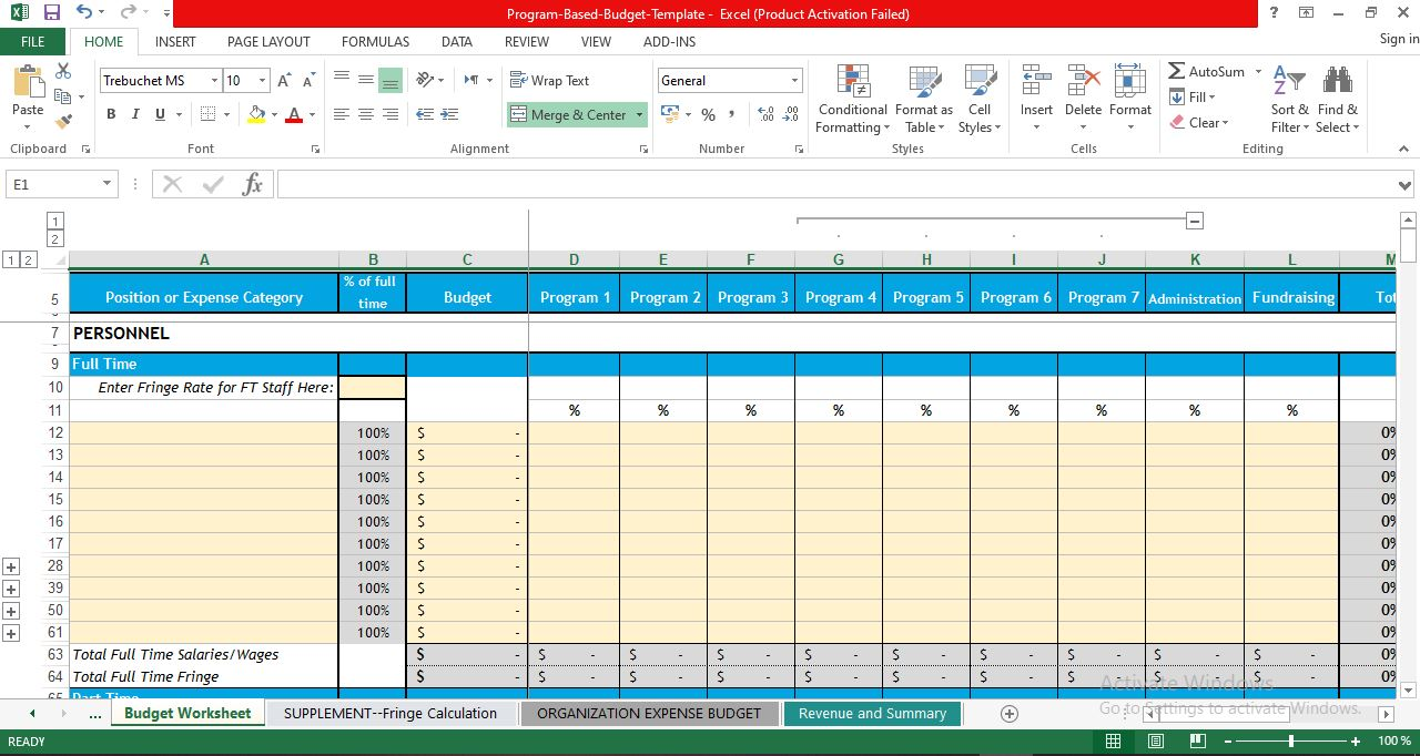 budget template in excel