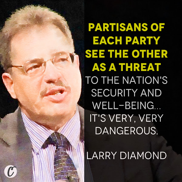 Partisans of each party see the other as a threat to the nation's security and well-being… It's very, very dangerous. — Larry Diamond, a senior fellow at Stanford University's conservative-leaning Hoover Institution