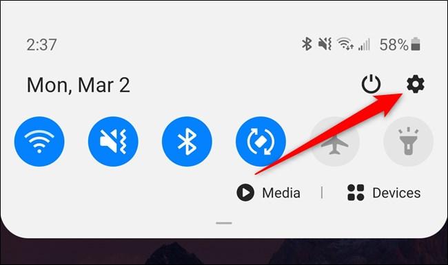 Samsung Galaxy S20 حدد رمز الترس الإعدادات