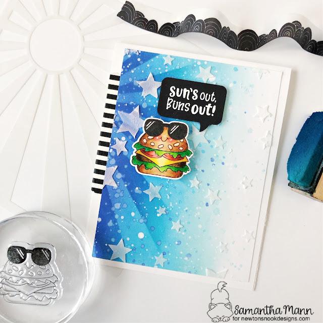 Summer Hamburger card by Samantha Mann | Buns Out Stamp Set, Speech Bubbles Die Set, Sunscape Stencil and Cascading Stars Stencil by Newton's Nook Designs #newtonsnook