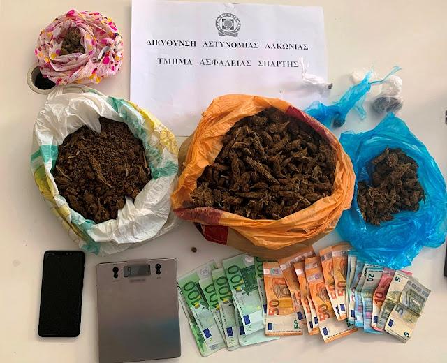 Σύλληψη 42χρονου στη Λακωνία με ένα κιλό κάνναβη