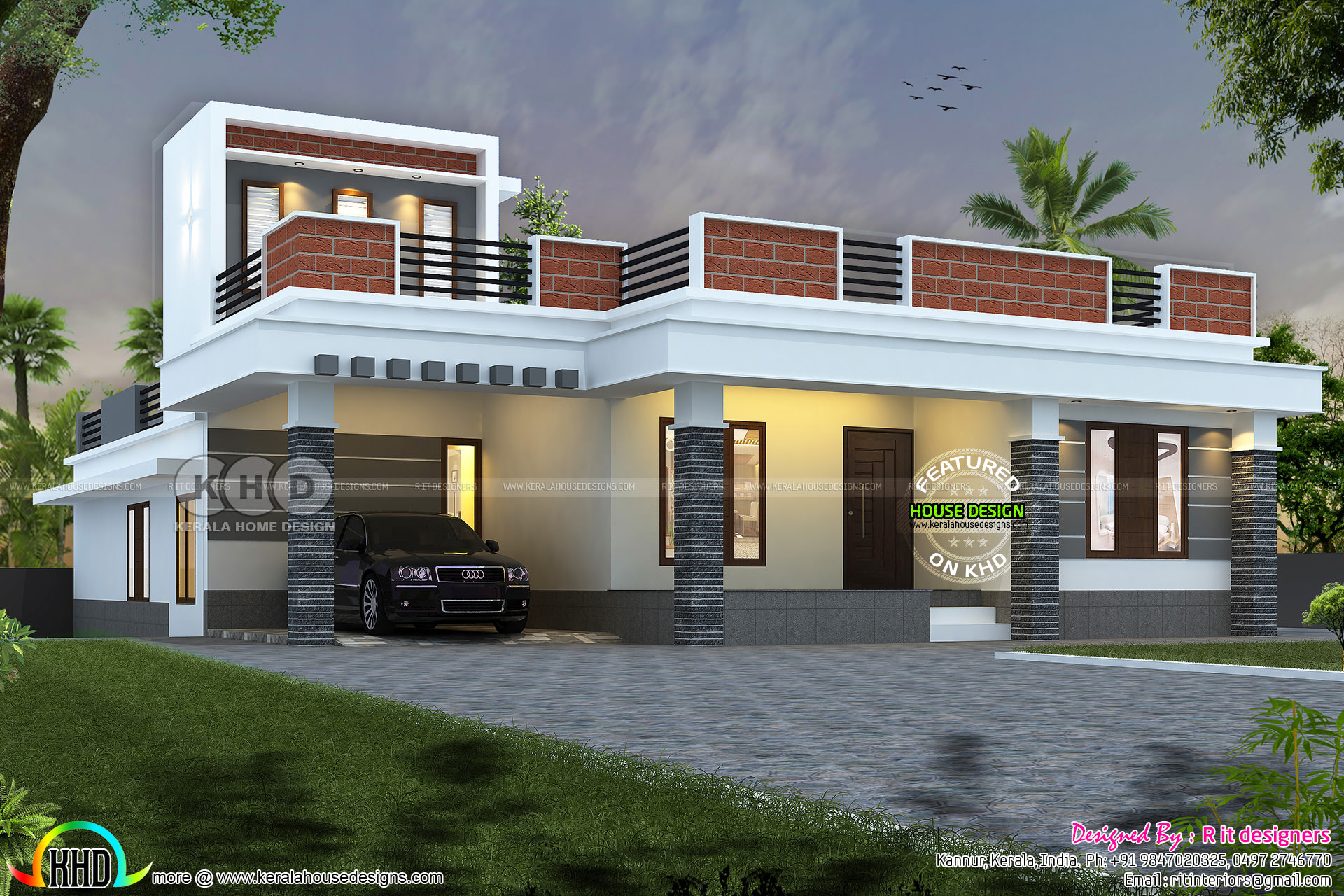 Single floor 44 000 cost estimated home design kerala for House plans with estimated cost to build in kerala