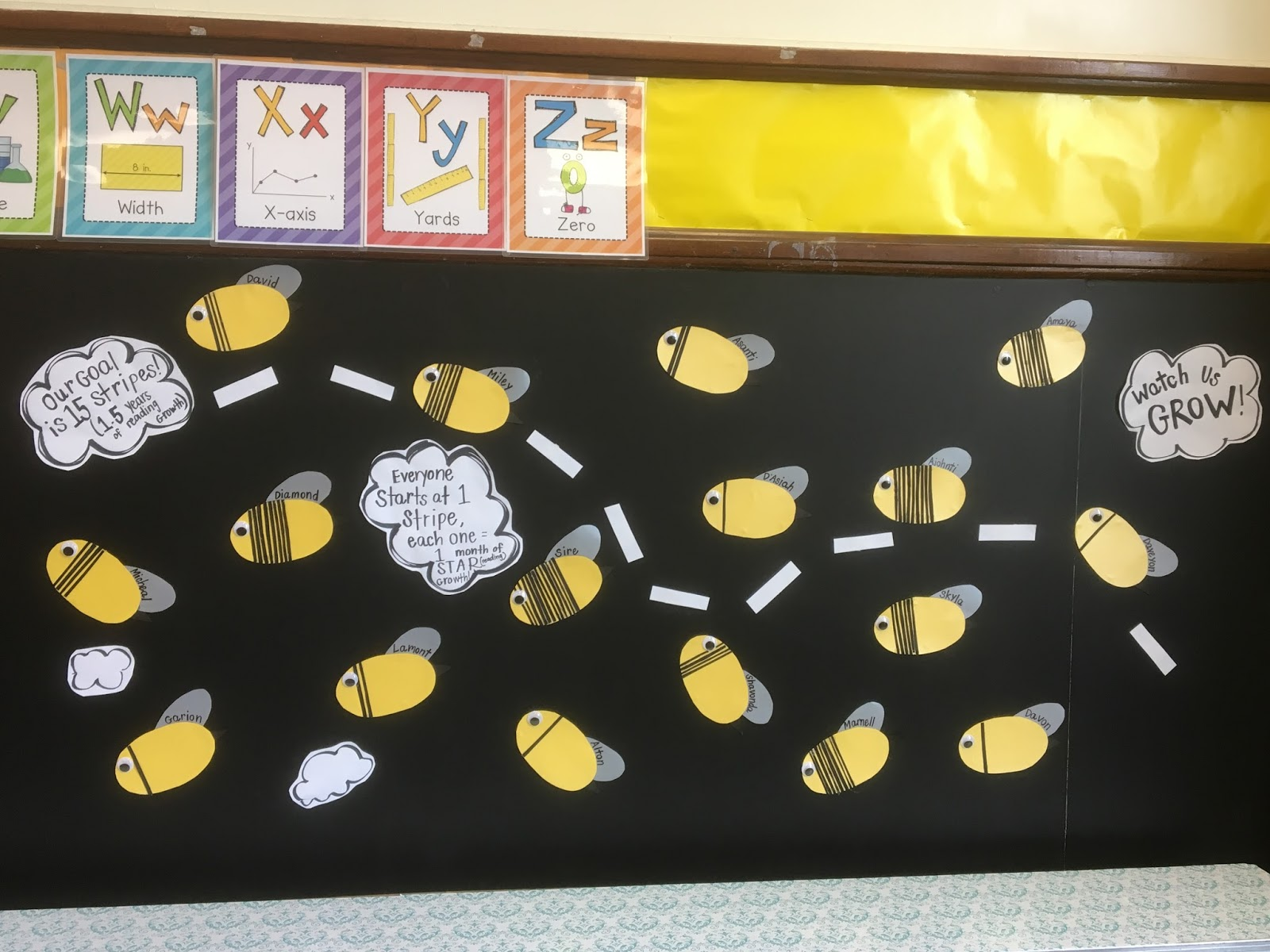 Ms Wolfenden Adds Stripes To Bumble Bees Each Time A Student Makes Month Of STAR Reading Growth