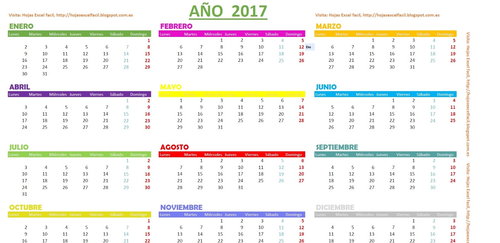 Calendario Mes 2017 Excel Calendario 2017 Excel Related Keywords Calendario 2017