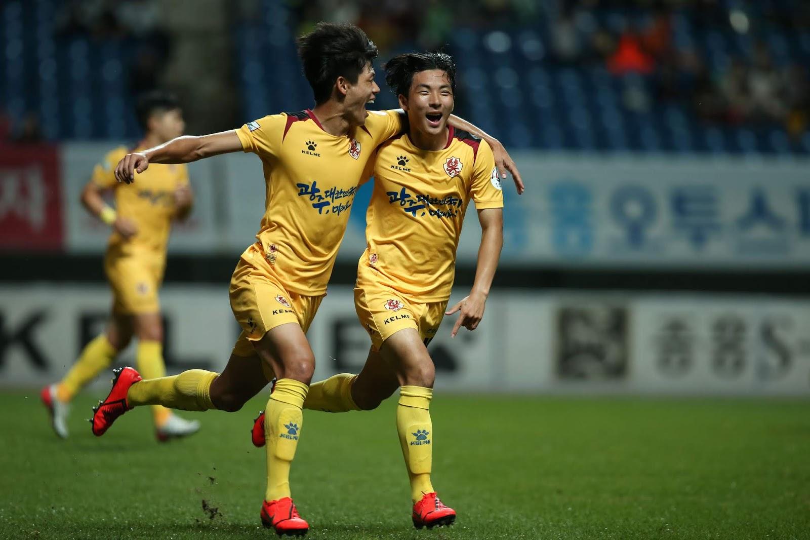 Gwangju vs Ansan 10.01.19, Lim Min-hyuk scores the winner from a free kick in the first half.