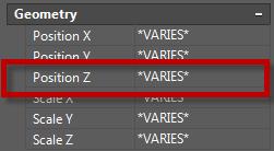 Gán giá trị z=0 cho các đối tượng