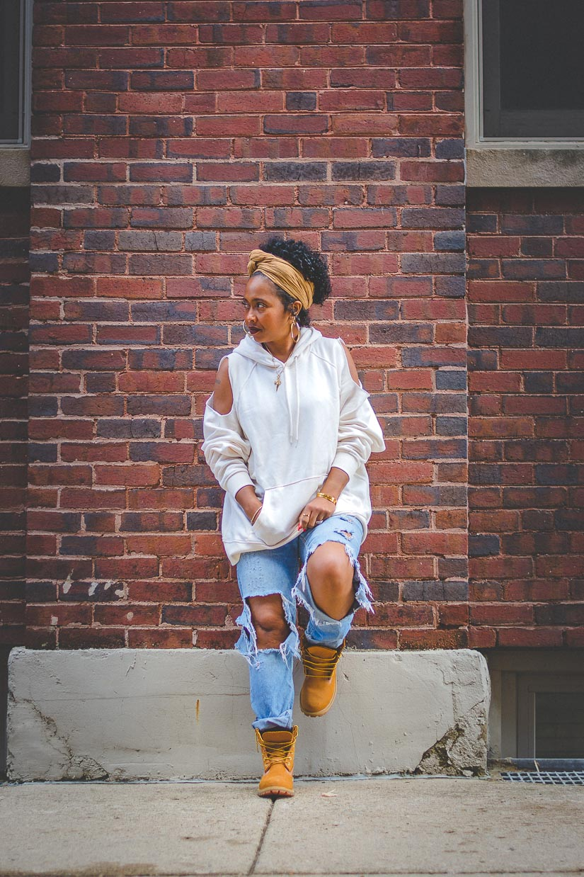 How To: DIY Cold Shoulder Hoodie, SWEENEE STYLE, HOW TO WEAR TIMBERLAND BOOTS, FALL OUTFIT, HOW TO WEAR NATURAL HAIR, HOW TO WEAR A HOODIE