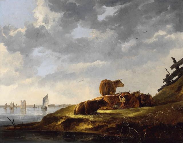 Альберт Кёйп - Речной пейзаж с семью коровами и руинами башни Мерведе