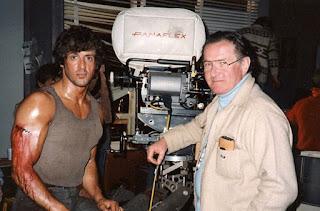 Stallone y el director Ted Kotcheff en el set de rodaje de Rambo