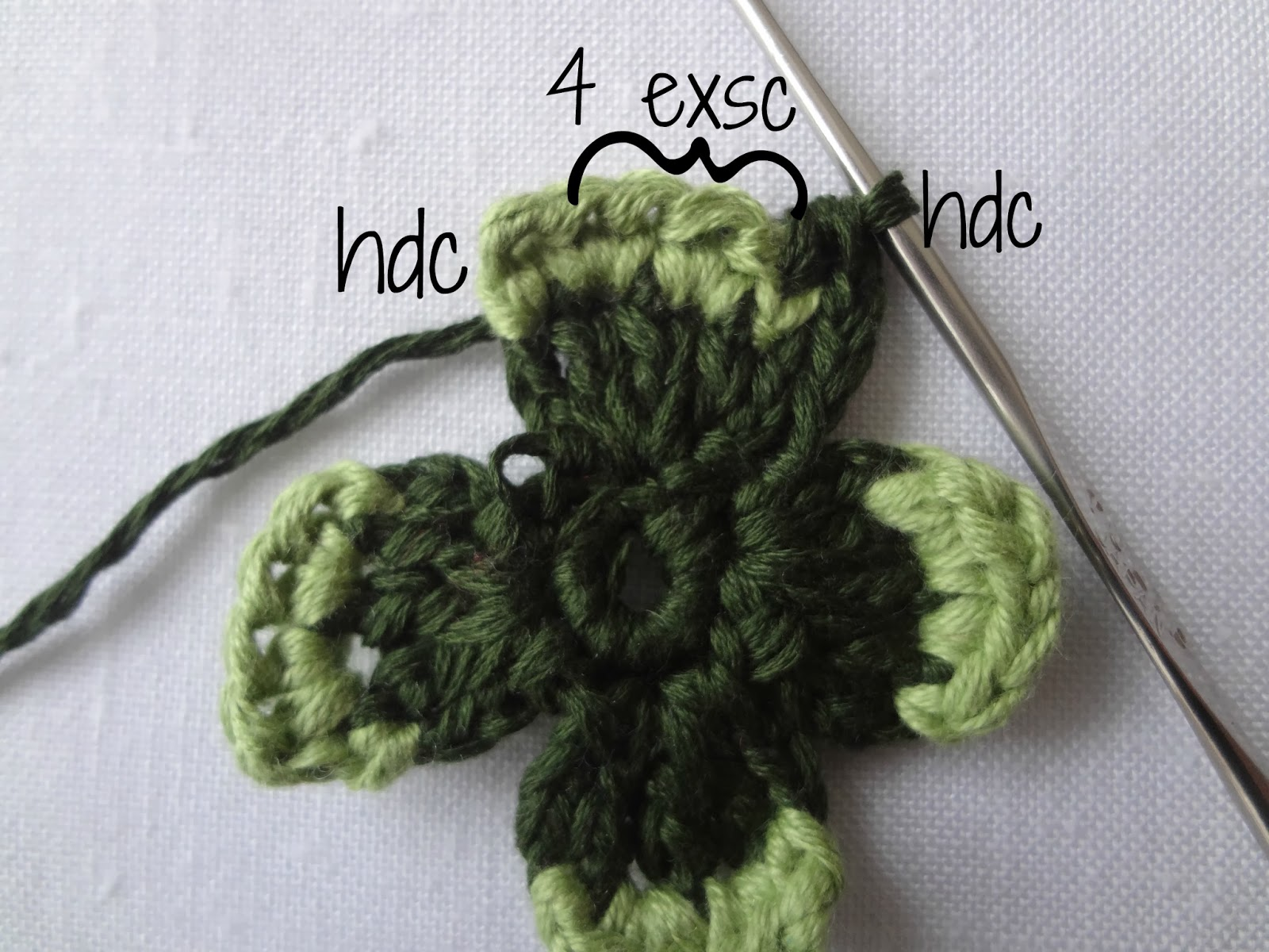 Crochet Stitch Exsc : single crochet, yarn over and instead pulling through both stitches ...