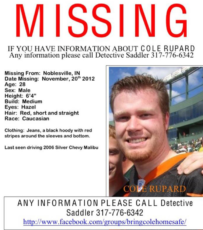 Killing Killers MISSING PERSON ALERT Cole Rupard, 28, from Indiana - Missing Persons Posters