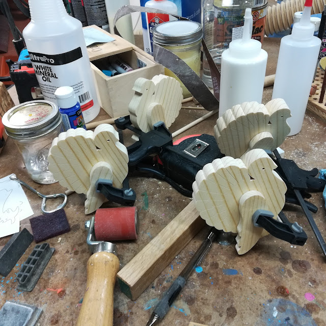 Handmade  Flock of Wood Turkeys on the Workbench