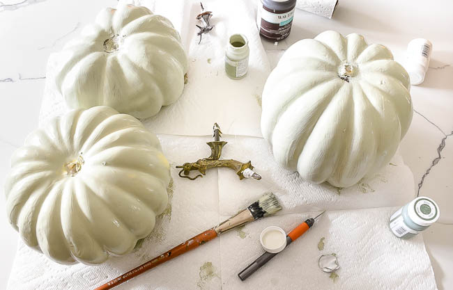 Painting faux pumpkins with chalk paint