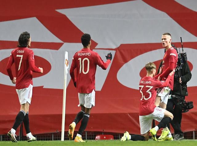 Manchester United midfielder Scott McTominay celebrates after scoring