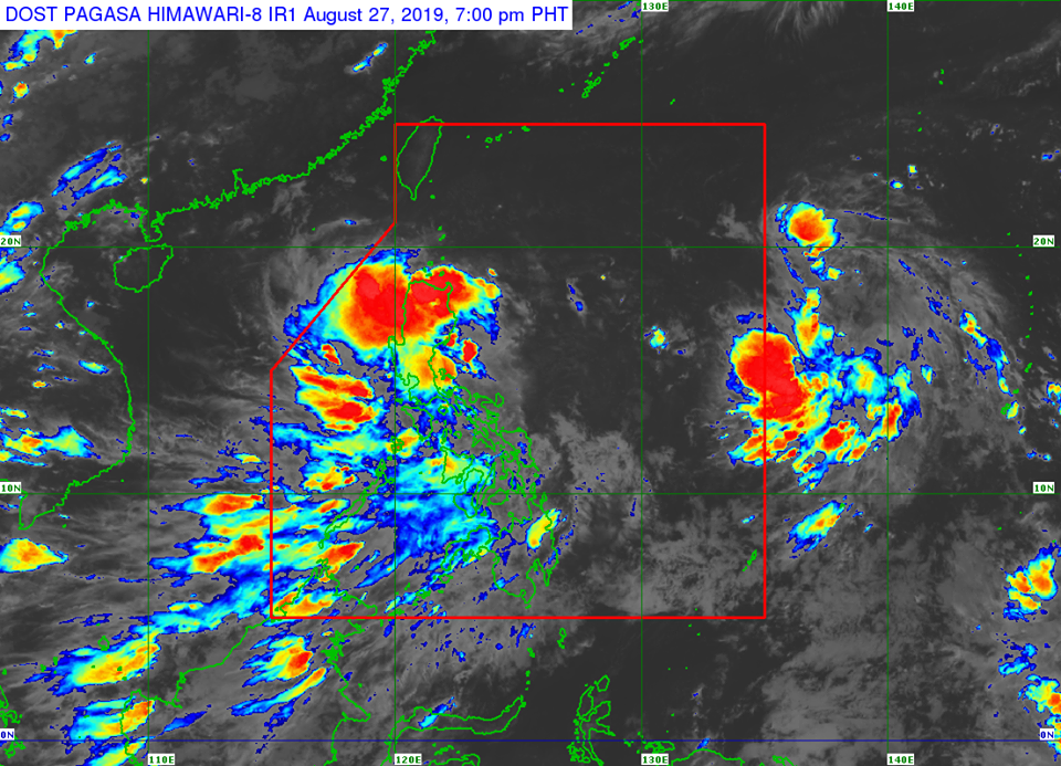 Satellite image of Tropical Depression 'Jenny' as of 7:00 pm on Tuesday, August 27