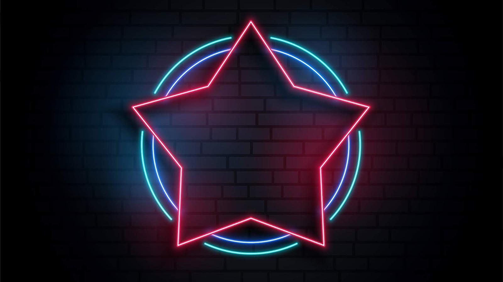 Neon star 4k wallpaper 2160x3840 pixels