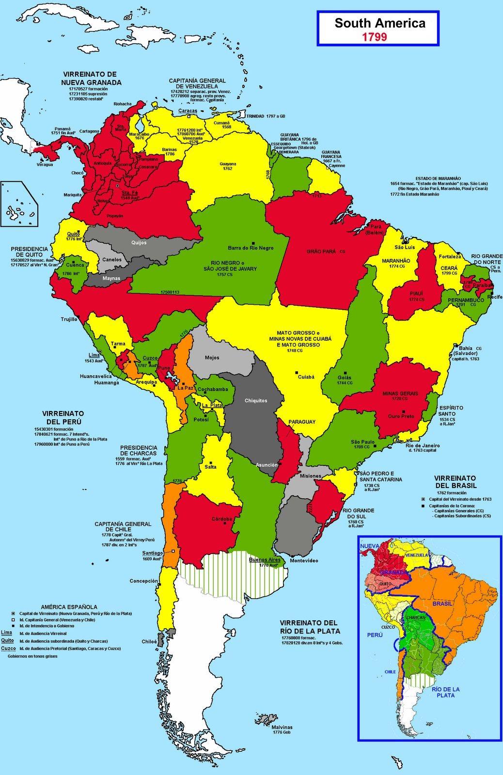 Divisão Política da América do Sul em 1799