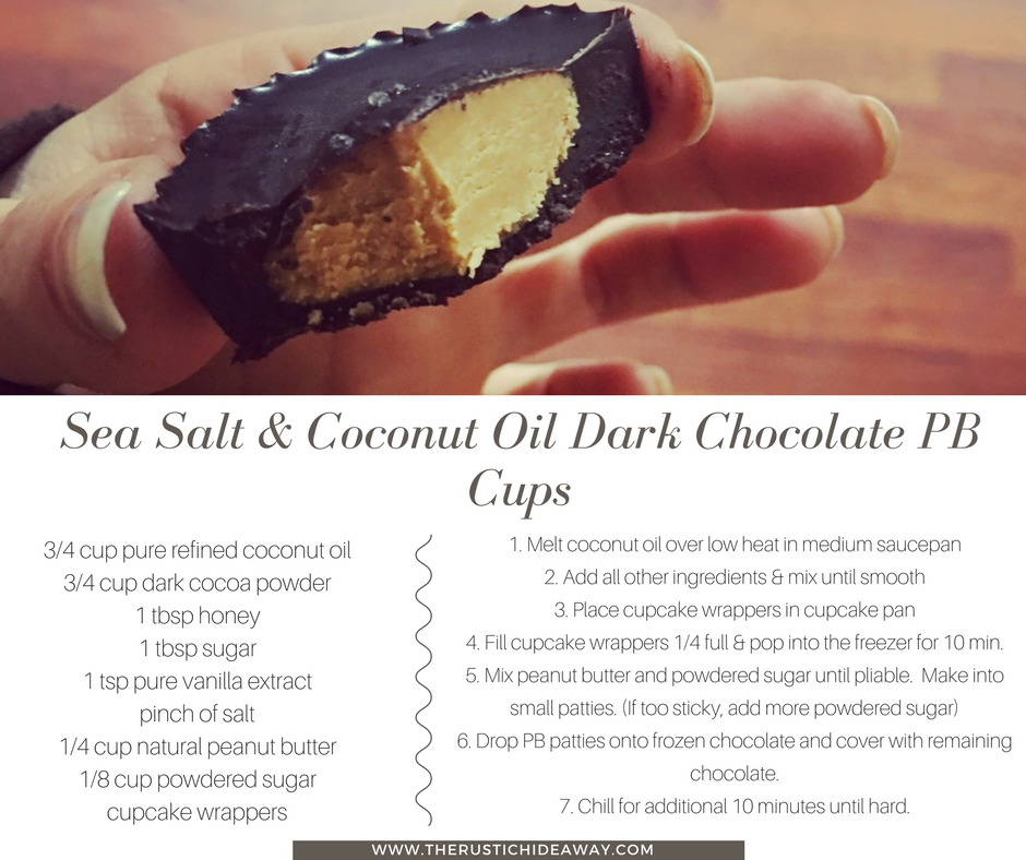 Image of sea salt & coconut oil dark choloate peanut butter cups and recipe