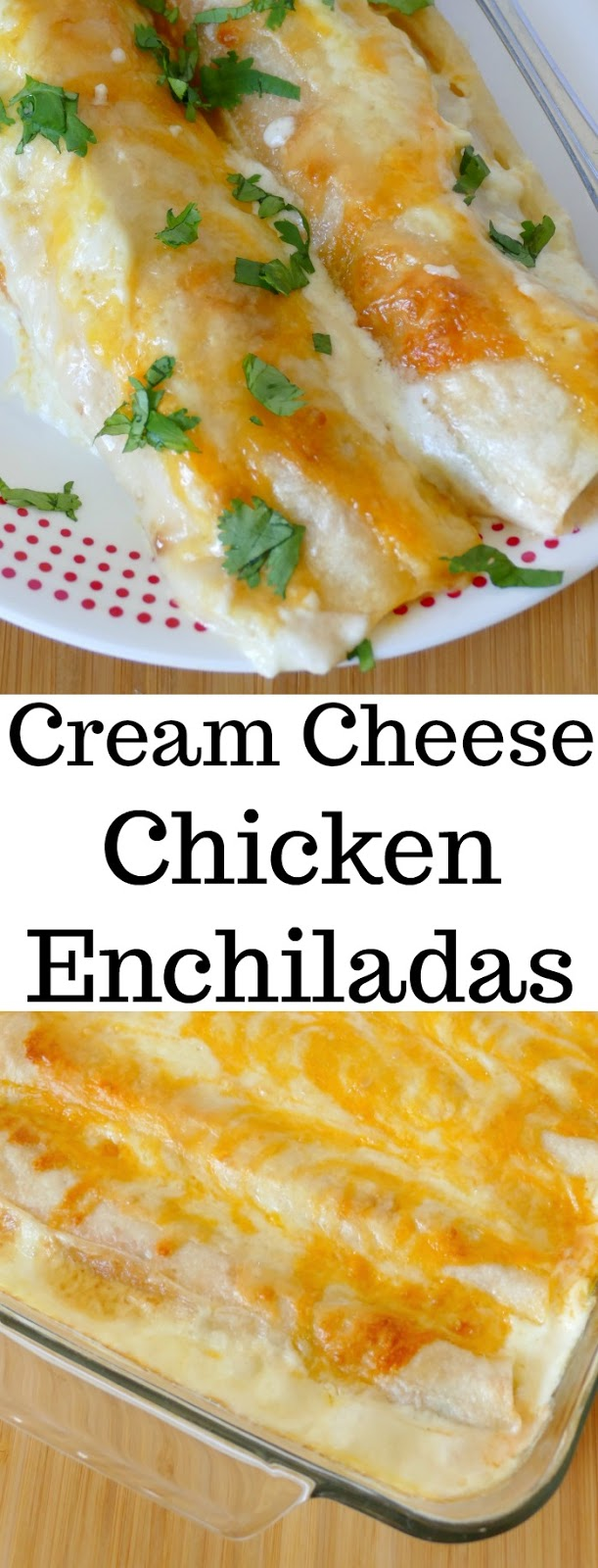 These chicken enchiladas are full of creamy, cheesy goodness! Perfect for Sunday dinner and sure to be a new family favorite! Use rotisserie chicken to save time in the kitchen!